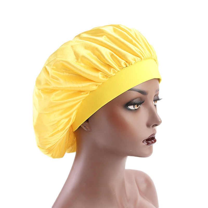 58 см отрегулируемая однотонная Атласная шапочка для укладки волос, шапка для ухода за длинными волосами, женская ночная шапка для сна, шелковая шапочка для головы, шапочка для душа, инструмент для укладки волос