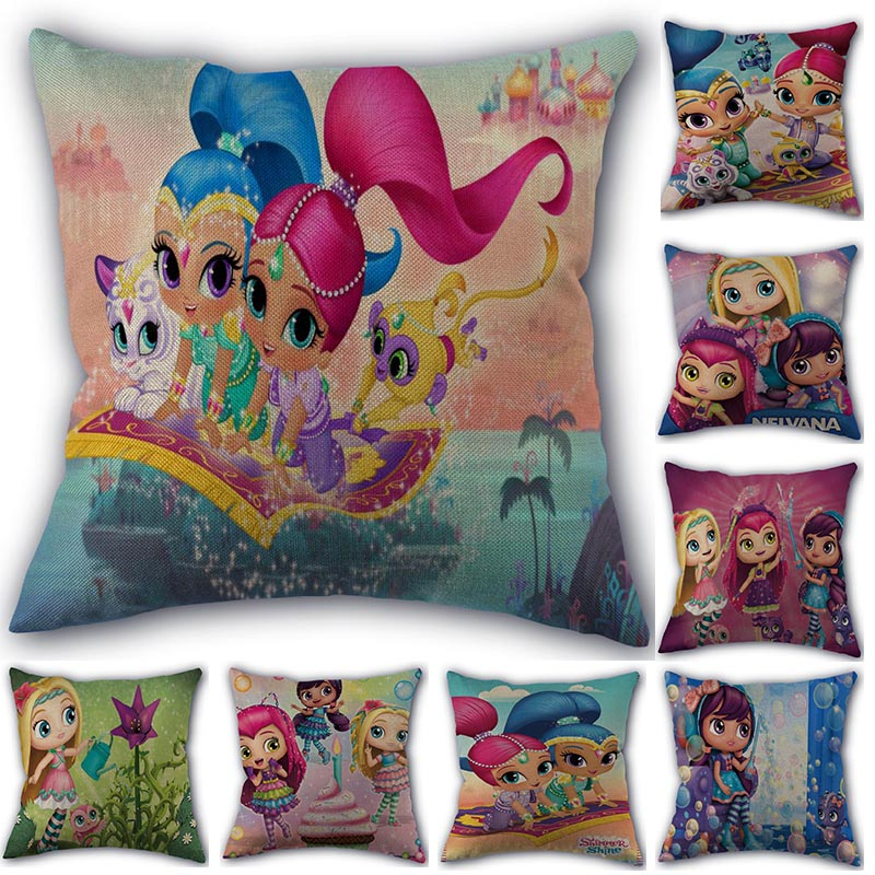 Custom Shimmer Shine Cartoon Pillowcase Cotton Linen Fabric Home Textile Square Pillowcase 45X45cm Wedding Decorative No Fade