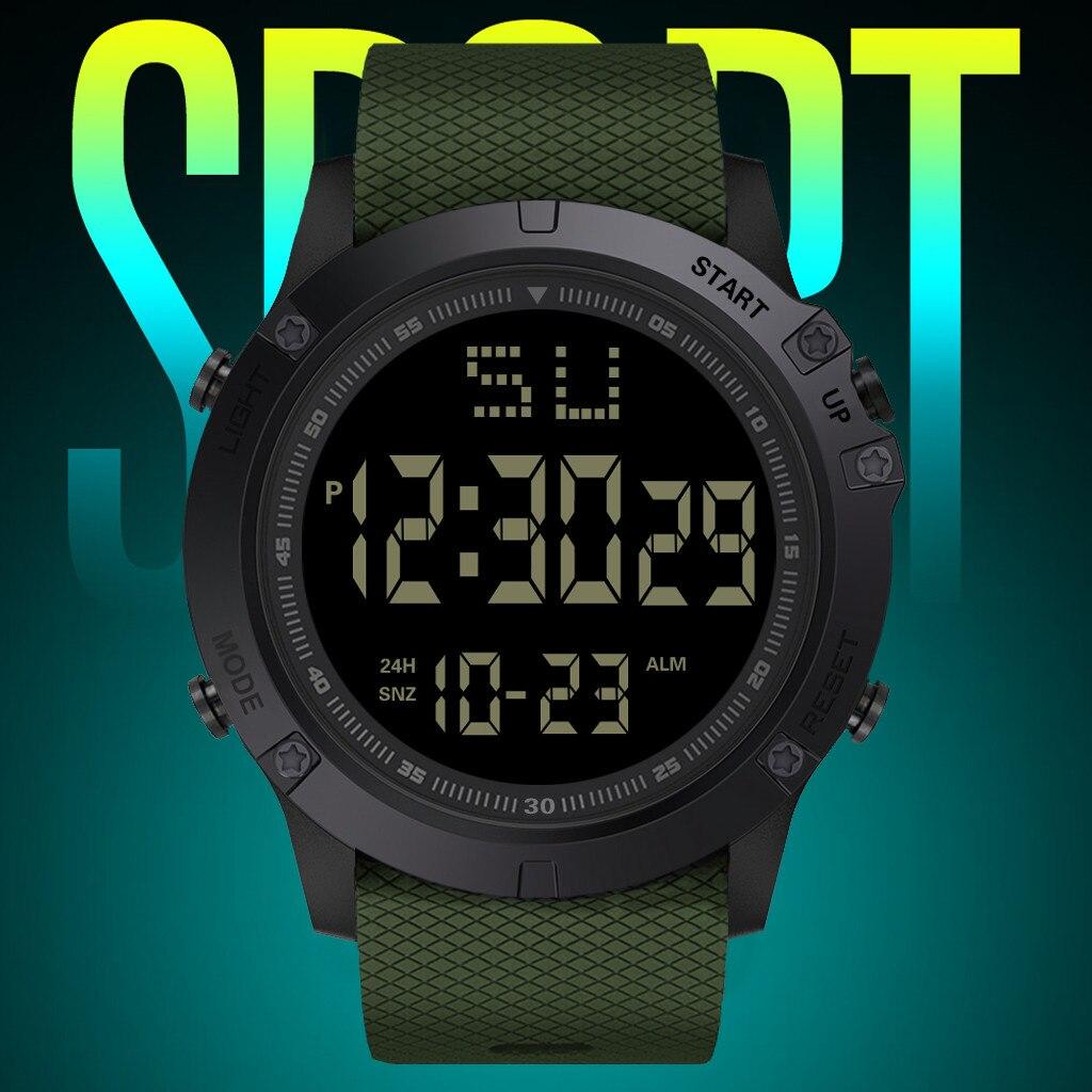 Модные мужские светодиодные цифровые часы с датой, военные спортивные резиновые кварцевые часы с будильником, водонепроницаемые мужские с...