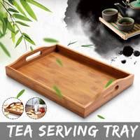 Japanese Bamboo Square Tray Solid Wood Tea Set Tray Home Breakfast Tray Cake Tray|Tea Trays| |  -