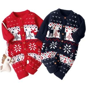 Boys Baby Christmas pajacyki reniferowe dzianiny Infantil kombinezony małe dziewczynki noworoczny kostium dzieci ciepła wełna ubrania 0-3Y