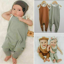 CANIS Summer Newborn Baby Boy Girl Sleeveless Solid Color Cotton Romper Jumpsuit One-Piece Clothes(China)