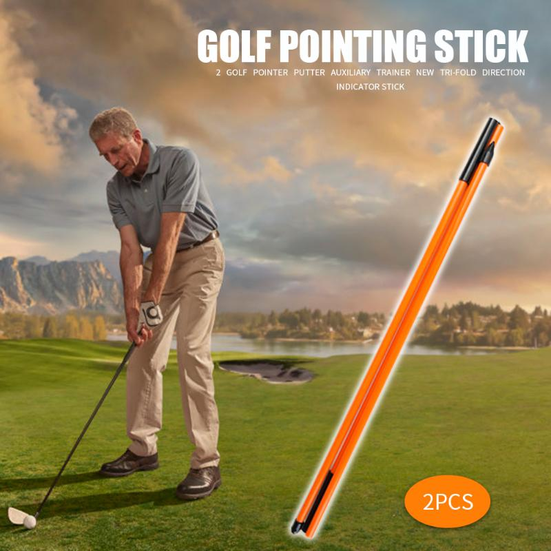 2pcs Golf Alignment Sticks 3 Sections Foldable Golf Putting Ball Position Aid Training Tool Portable Equipment Supplies