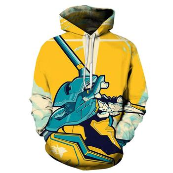 Men EVA Evangelion 3D Print Cosplay Hoodie Sweatshirt with Front Pocket Hooded Jacket (L, Color 10)