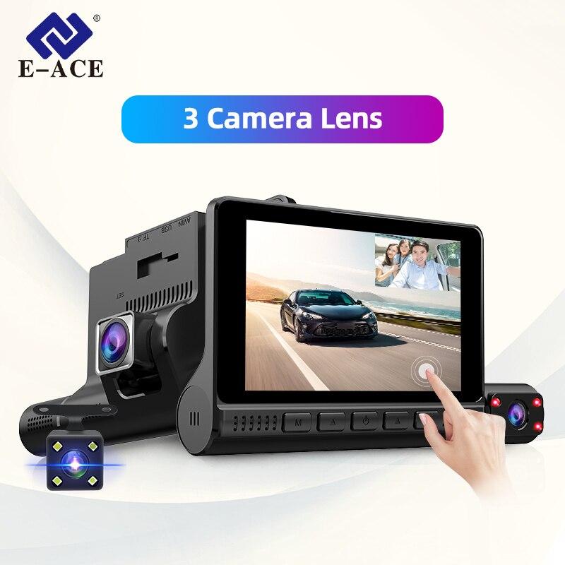 Автомобильный видеорегистратор E-ACE, регистратор для авто с 3 видеокамерами и монитором 4.0'', видеорегистратор с двойной камерой заднего вида