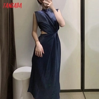 Tangada Women Cut-out Sexy Dress Sleeveless Backless 2021 Fashion Lady Party Midi Dresses 3H850 2