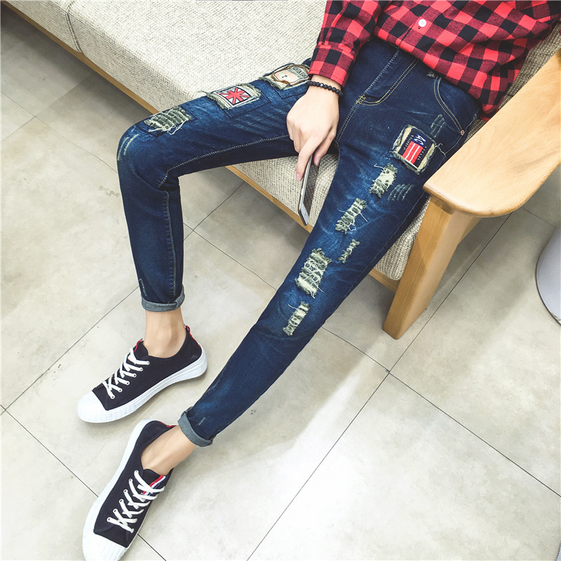2016 Autumn And Winter New Style Men Hole & Patch Cowboy Trousers Korean-style Beggar Large Size Slim Fit Pants Jeans Fashion