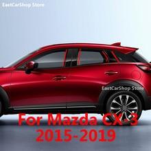 Pegatinas de tira negra para puerta y ventana de coche, fibra de carbono, embellecedor de columna media, para Mazda CX-3, CX3, 2019, 2018, 2017, 2016, 2015