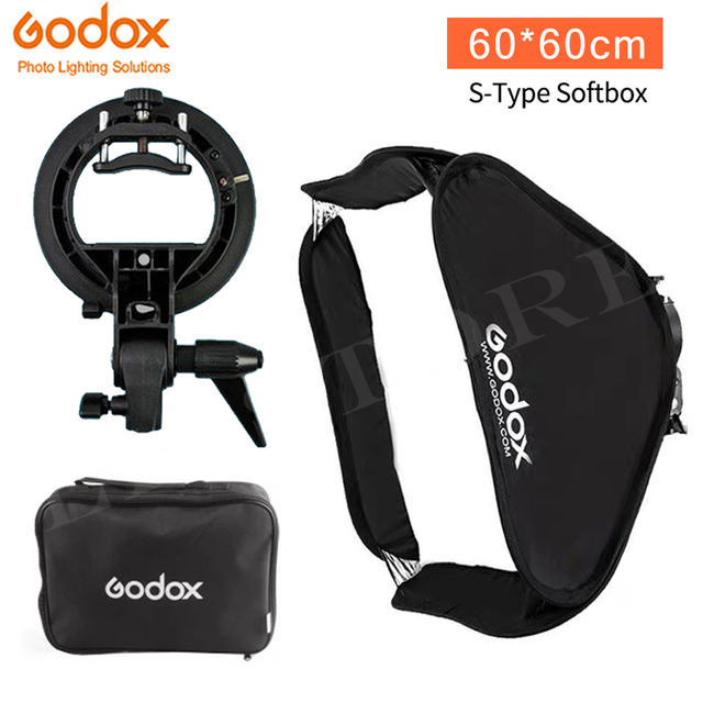 Godox 60x60 سم سوفت بوكس عدة فلاش الناشر + S نوع قوس حامل بونز لكانون نيكون فلاش سبيدليت 60*60 سم لينة صندوق