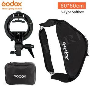 Image 1 - Godox 60x60 cm Softbox Kit Flash Diffusor + S typ Halterung Bowens Halter für Canon Nikon Flash speedlite 60*60 cm Weichen box