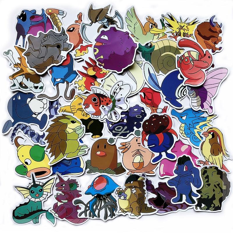 50/100 PCS Cute Pokemoner Sticker Classic Anime Cartoon Pikachu Girl Things Waterproof For Scrapbook Laptop Skateboard Kids Toys