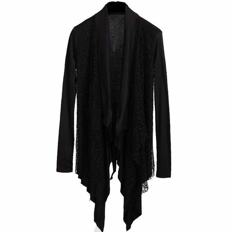 Outono de alta rua dos homens meados longo casaco cardigan malha manga longa outerwear preto com cinto irregular fino ajuste manto casaco