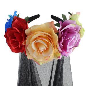 Image 4 - Halloween Wreath Headband Handmade Fabric Rose Flower with Black Mesh Veil Tulle Crown Festival Day of The Dead Hair Hoop