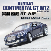 1:24 Bentley Continental GT W12 alloy car model steering wheel linkage children's toys collection gift pull-back vehicle цена