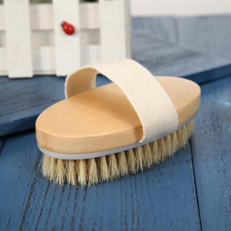 Soft Natural Bristle SPA Brush Wooden Bath Shower Brush Skin Body Massager Hot Dry Skin Bath Shower Bristle Brush SPA Body Brush