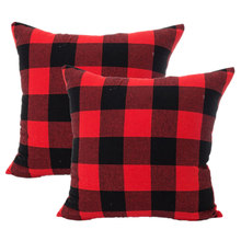 2 Pcs 45X45cm Polyester Plaid Pillow Cover Sofa Gooi Kussenhoes Throw Cushion Cover Decoration Vrolijk Kerstfeest Gift New(China)