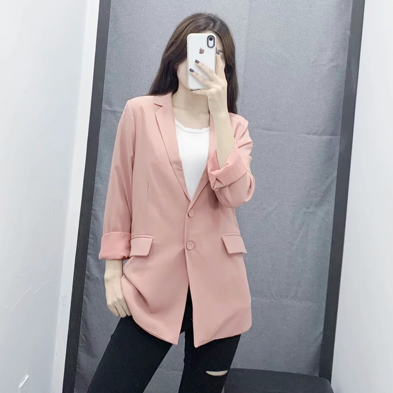 Casual ladies blazer 2019 new spring and autumn Slim single-breasted long-sleeved pink jacket suit female Office suit