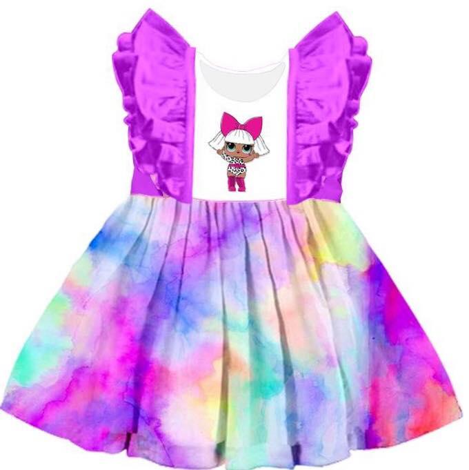 Best Sellling  Girl Animal Printed Boutique Short Sleeve Kids Cloting Dress