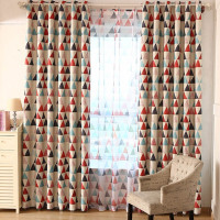 New Modern Green Red Triangle Printed Geometric Home Decorative Curtains Window Curtain For Bedroom Window Blind BS