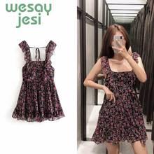 Women dress summer vestidos floral print casual sleeveless mini square-collar de fiesta party chic