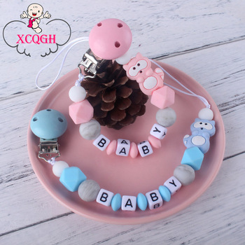 XCQGH Customized Baby Name Raccoon Animal Pendant Pacifier Clips Chain For Newborn Toddler Dummy Feeding