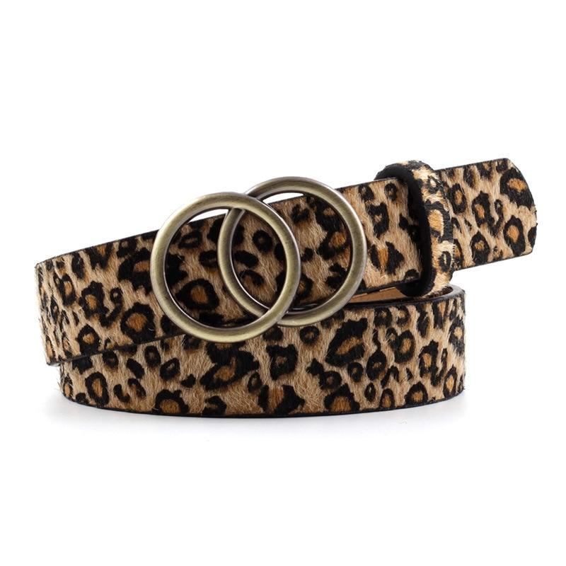 2020 Designer Leather Snake Zebra Belt Leopard Women Female Fashion Waist Double Ring Circle Buckle Girl Jeans Dress Wild Belts