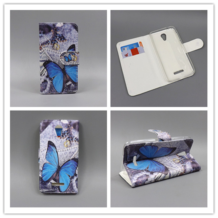 New Butterfly Flower Flag Designer Wallet Flip Stand Book Cover Case For <font><b>Alcatel</b></font> One Touch Pop 4 Plus <font><b>5056D</b></font> POP 4+ 5056 5.5inch image