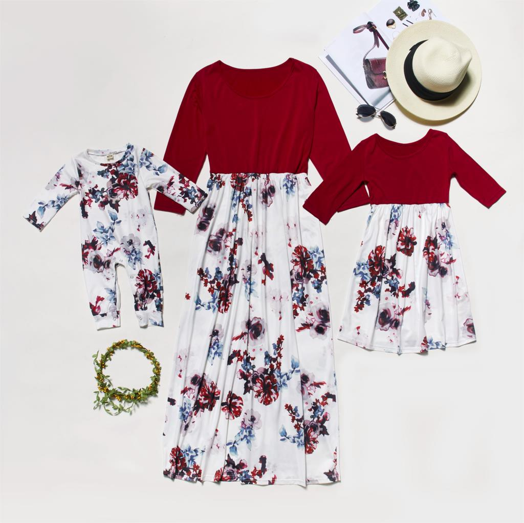 Spring Mother Daughter Dresses Full Sleeve Mommy And Me Clothes Family Matching Outfits Look Mom Mum And Baby Women Girls Dress