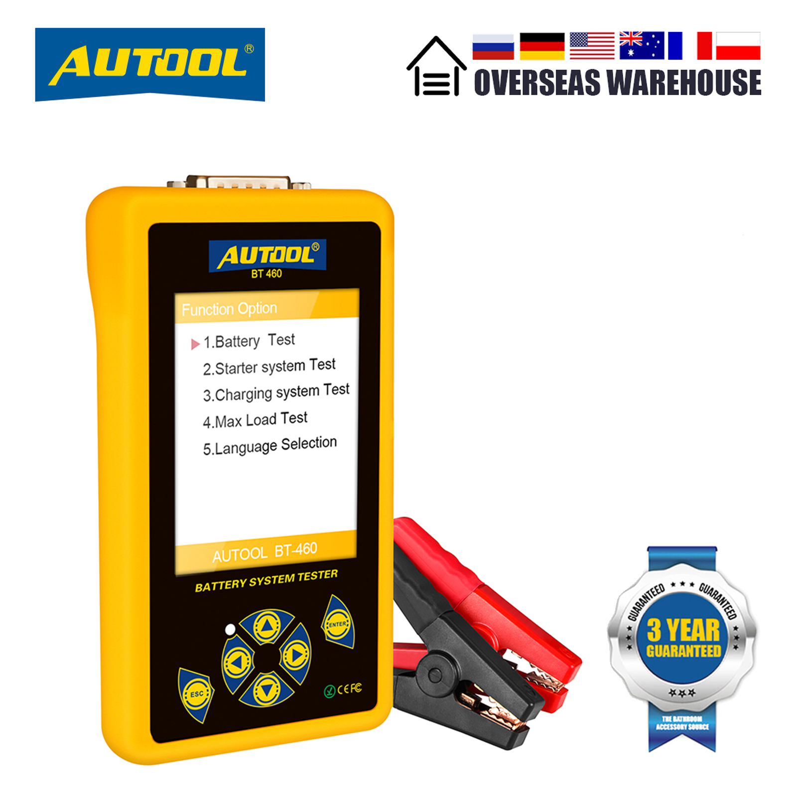 AUTOOL BT460 Car Battery Tester 12V 24V Automotive Batteries Analysis Meter Car Quick Cranking Charging Diagnostic Tool PK KW600