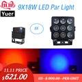 8 шт., алюминиевый сплав, светодиодный светильник 9X18 Вт, американский Dj Par Cans, RGBWA-UV, 6в1, DMX 512, светильник, Рождественский проектор, музыкальный ...