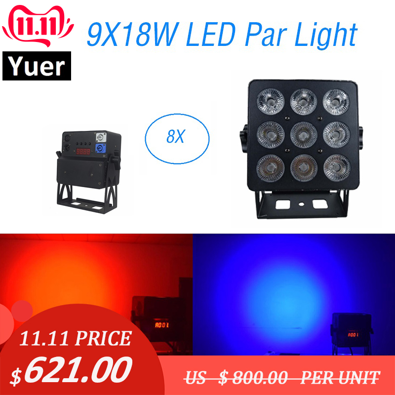 8Pcs Aluminum Alloy LED Flat Par 9X18W Lighting American Dj Par Cans RGBWA-UV 6IN1 DMX 512 Light Christmas Projector Light Music