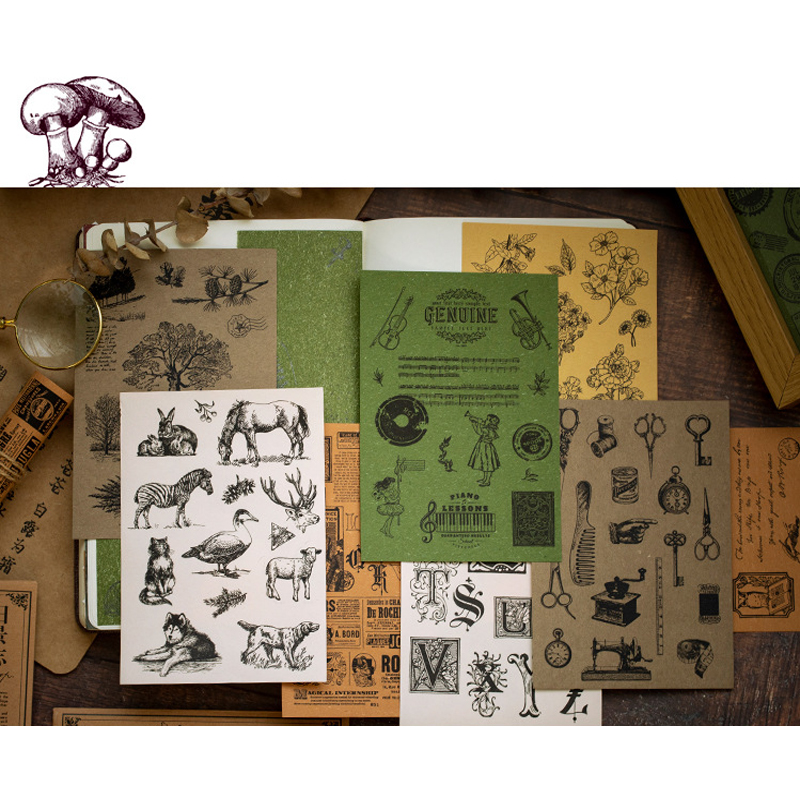 15pcs/lot New Retro Series Material Paper Stickers Decorative Scrapbooking Craft Sticker Diary Album Adhesive