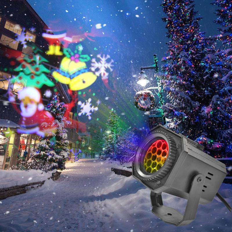 2020 Christmas Pattern LED Laser Projector Colorful Rotating Stage DJ Disco Lamp