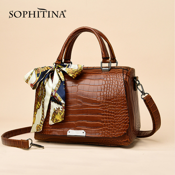 SOPHITINA New Versatile Women Messenger Bags Ribbons Sequined Decoration Crocodile High Quality Capacity Handbags E31