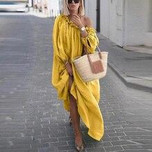 New Arrival Dress Women Dresses Summer Pure Color Long Sleeve Bohemian Swing Sloping Shoulder Irregular Hem Maxi Dresses crisscross embroidered sleeve hanky hem swing dress