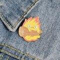 Кальцифер эмалированный булавка на заказ японский аниме-броши огненный эльф значок для сумки лацкан булавка пряжка Howl ювелирные изделия по...