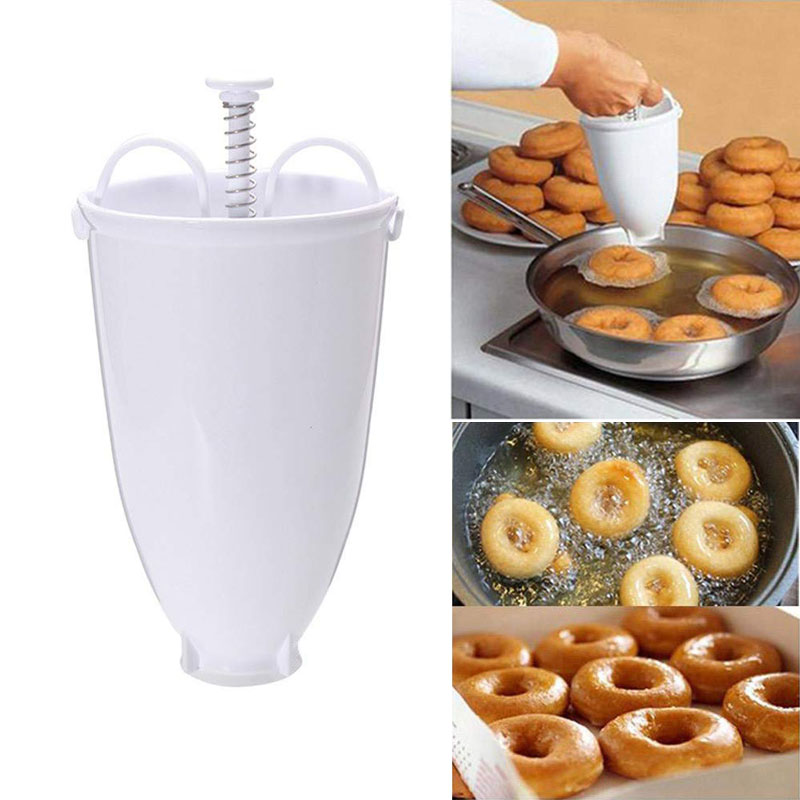 Fast Portable Donut Maker Mould Manual Waffle Dispenser Doughnut Machine Arabic Waffle Doughnut Cake Mould Kitchen Deep Fry Tool