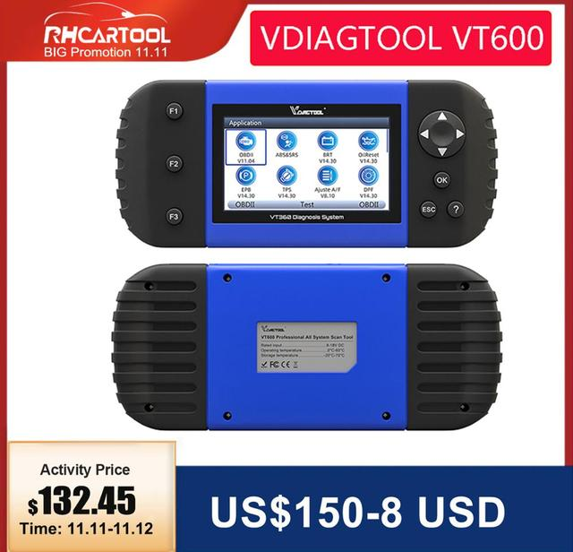 VDIAGTOOL Car Diagnostic VT600 OBD2 Scanner Tool working Brazil cars Engine ABS SRS EPB Coding OBD2 PK NT650 x100 pro crp129E
