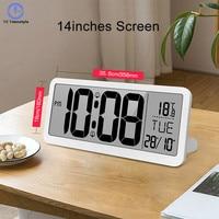 Large Screen Wall Clock LCD Electronic Digital Living Room Decoration Duble Alarms Perpetual Calendar Temperature Mirror Modern