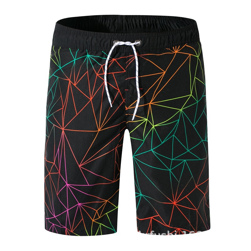 New Style Beach Shorts Men's Geometry Printed Swim Shorts Casual Shorts MEN'S Sports Pants Large Size 1922 #