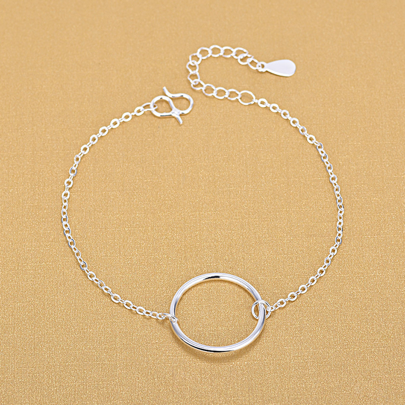 925 Sterling Silver Simple Geometric Circle Ring Bracelet Minimalist Student Personality Wild Jewelry For Women