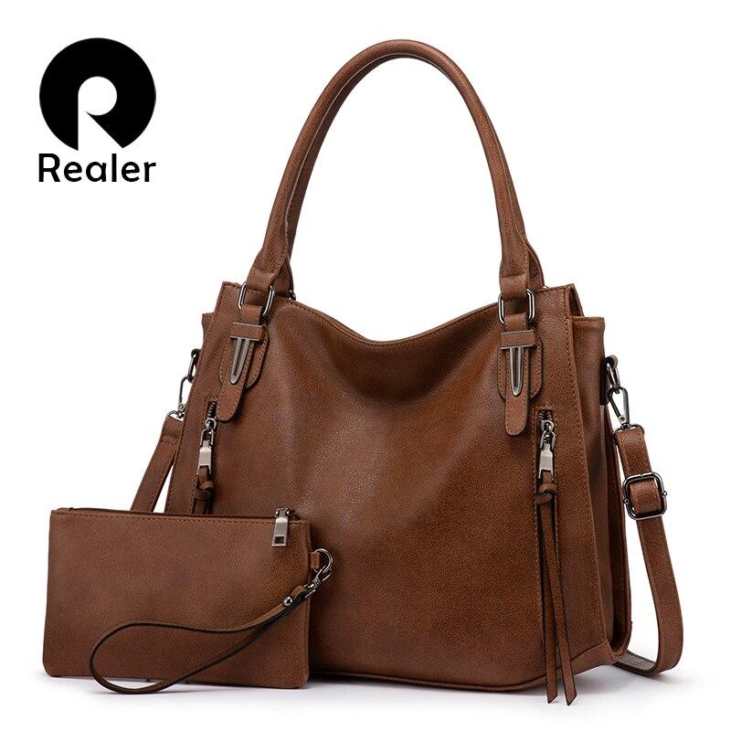 Realer Bag Set Women Handbag Shoulder Bag Female Bag Purse  For Ladies Luxury Designer PU Leather Totes Large Capacity