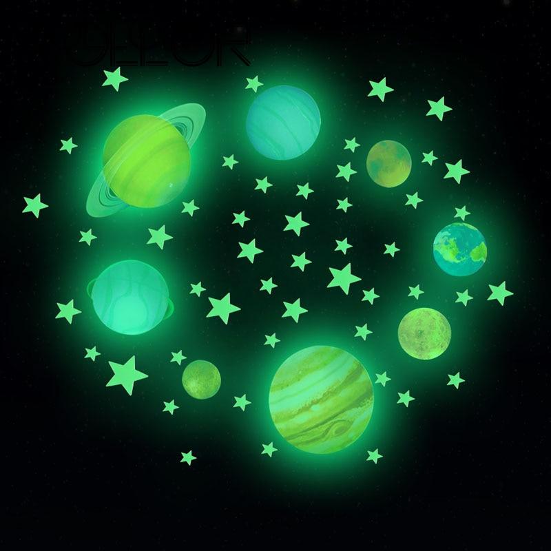 Zollor DIY Luminous Space Planet Stars Children's Room Decoration 3D Fluorescent Stickers Home Ceiling Decor Glow in Dark