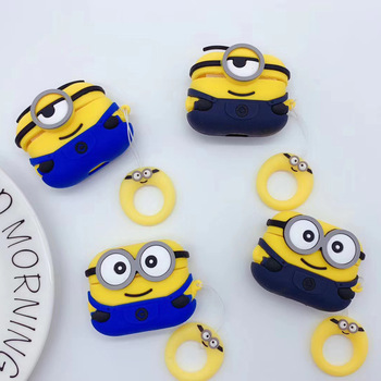 3D Minions Cute Soft Silicone Wireless Earphone for AirPods Pro Case for Apple Airpods Pro Cover Cartoon Protective Charging Box 3d lucky rat cartoon bluetooth earphone case for airpods pro cute accessories protective cover for apple air pods 3 silicone