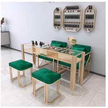Online celebrity luxury nail art table and chair set marble iron nail art table single double three economical