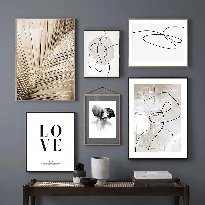 Винтажный постер в скандинавском стиле, настенная Картина на холсте с изображением банановых листьев, растений, поцелуев, абстрактных линий, декор для гостиной