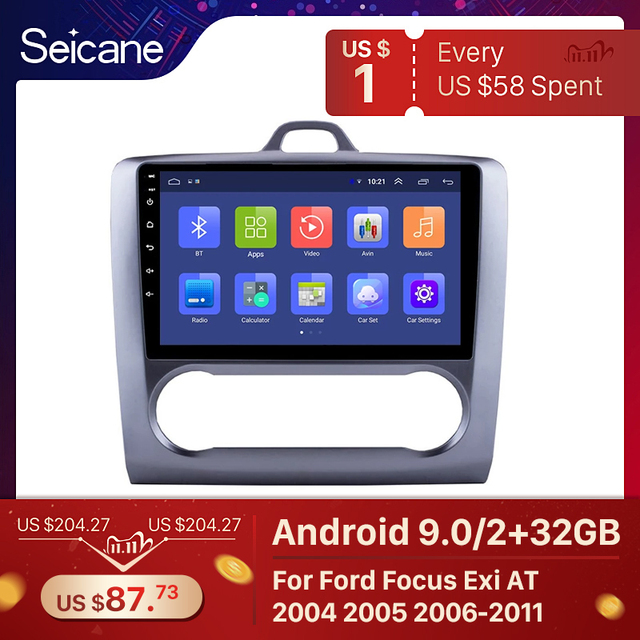 Seicane 2 DIN 9 Inch Android 9.0 GPS Navigation Touchscreen Quad core Car Radio For 2004 2005 2006 2011 Ford Focus Exi AT