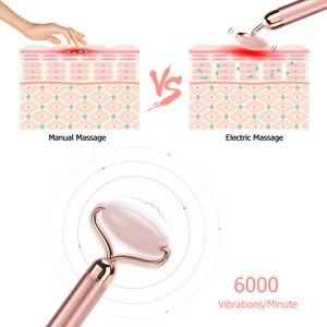 Image 3 - Elektrikli vibratör gül yeşim rulo yüz germe cilt sıkma Anti Aging zayıflama yüz Guasha yeşim taş güzellik yüz masajı