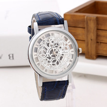 Reloj Hombre Explosion-selling Brand Simple Style Fashion Trend Hollow Carve Business Leather Mesh B