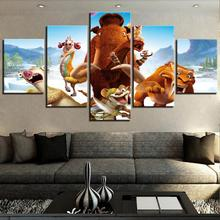 HD Print Canvas Picture Modern Wall Art 5 Pieces Cartoon Movie Ice Age Animals Tiger Painting Winter Poster Home Decor Framework